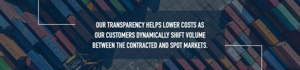 Our transparency helps lower costs as our customers dynamically shift volume between the contracted and spot markets.